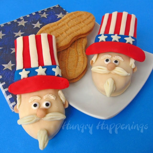 Decorate Uncle Sam Nutter Butters using modeling chocolate.