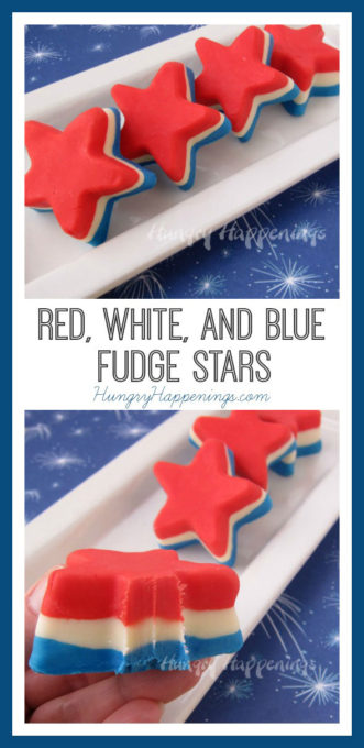 These Red, White, and Blue Fudge Stars are a great way to flair up your next patriotic party! They're simple to make and so yummy to eat!