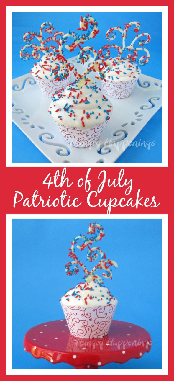 Make these Sprinkles will Fly Patriotic Cupcakes for a spectacular 4th of July dessert! These scrumptious cupcakes are moist, sugary, eye popping, and beautiful!