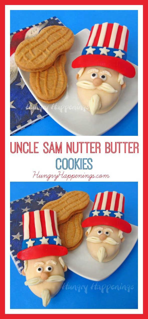 "Pay tribute to America this 4th of July by decorating some of these patriotic Uncle Sam Nutter Butter Cookies. These cute treats will be a get as many ""oohs and ahhs"" as the independence day fireworks."