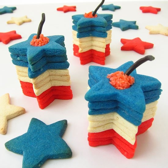 Stack up star shaped cookies to create these patriotic Firecracker Cookies. Each 3D cookie stack is filled with popping candy so once you take a bite you'll feel the cookies burst inside your mouth.