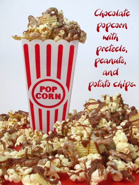 Give the fathers in your family a delicious snack they will really enjoy for Father's Day! This White Chocolate Popcorn with Peanuts, Pretzels, and Chips will have them craving more!