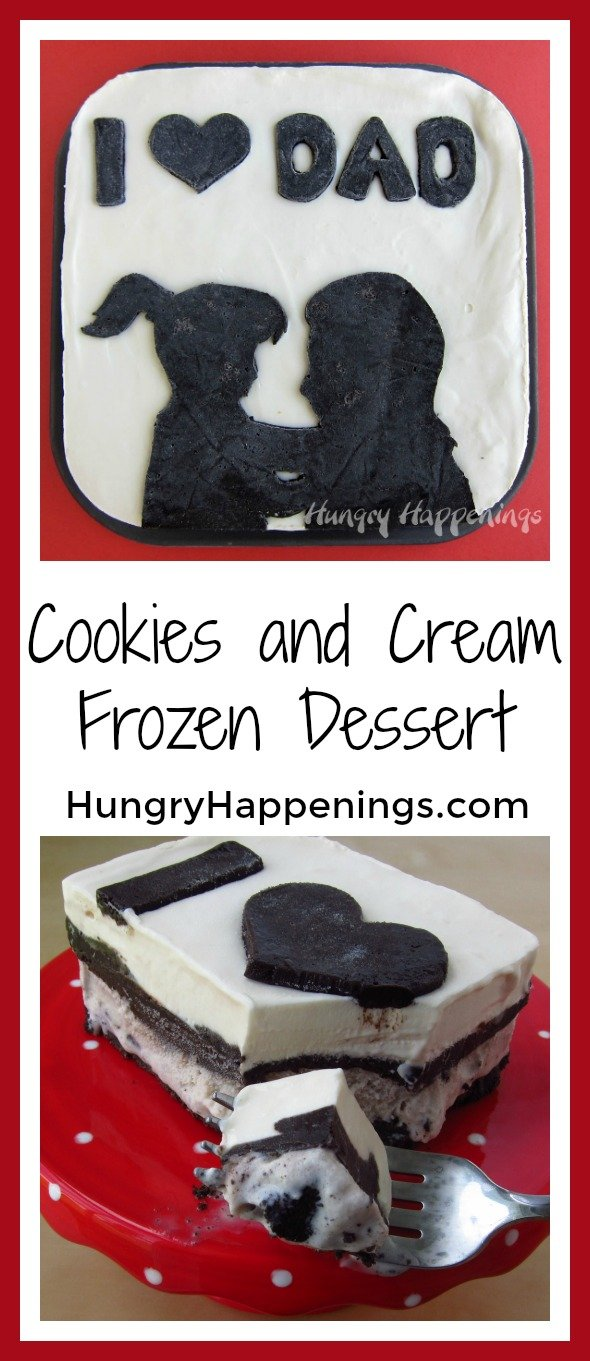 Ice cream cakes are one of the best treats, so why not make one for the special man in your family! This Father's Day Dessert Recipe - Cookies and Cream Frozen Dessert is easy to make and so delicious you won't be able to get enough!