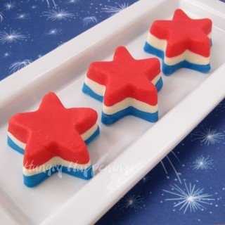 4th of July Dessert – Red, White, and Blue Fudge Stars