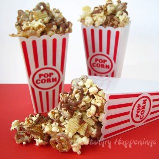 White Chocolate Popcorn with Peanuts, Pretzels, and Chips.