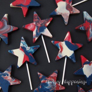 Celebrate 4th of July with Red, White and Blue Swirled Star Pops
