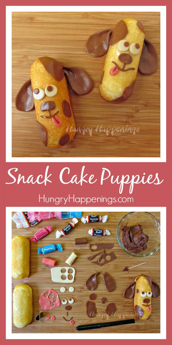 Make these Twinkie Snack Cakes Puppies for or with your kids and have an hour or so of fun! They can be decorated to look just like your own puppy.