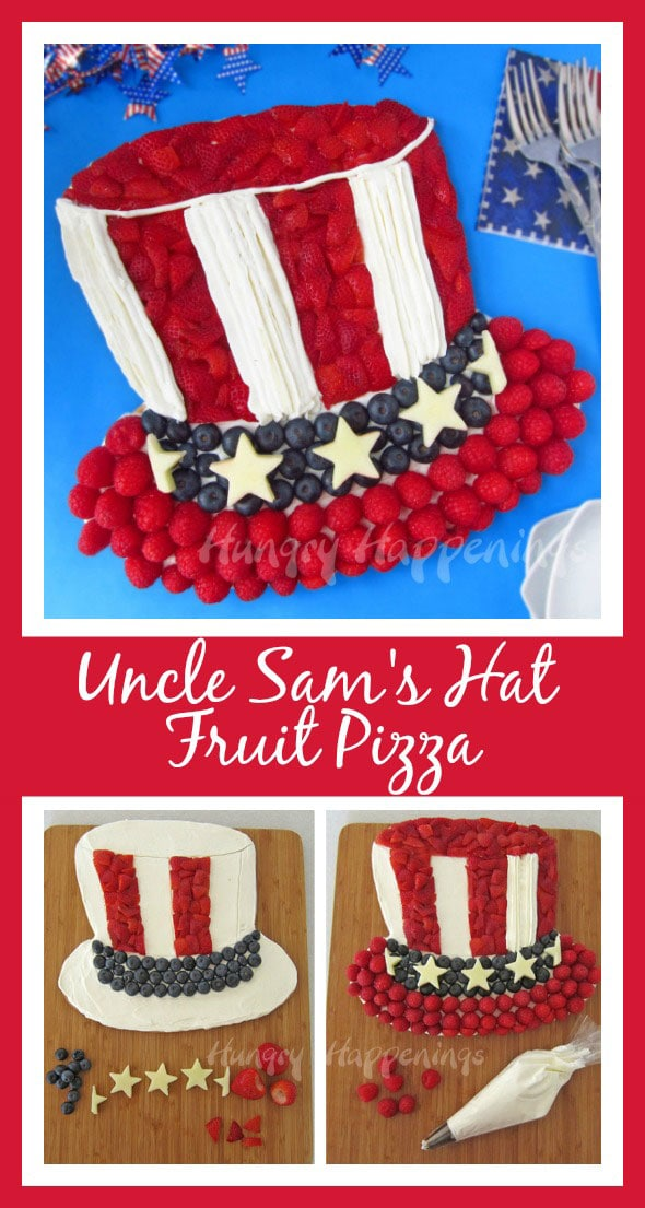 Show everyone how patriotic and American you are by making this 4th of July Fruit Pizza for your next party. Uncle Sam would be proud of how good his hat looks made with healthy strawberries, blueberries, and raspberries.