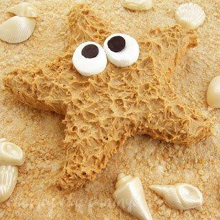 Peanut Butter Fudge Starfish on a Rice Krispies Treat Beach