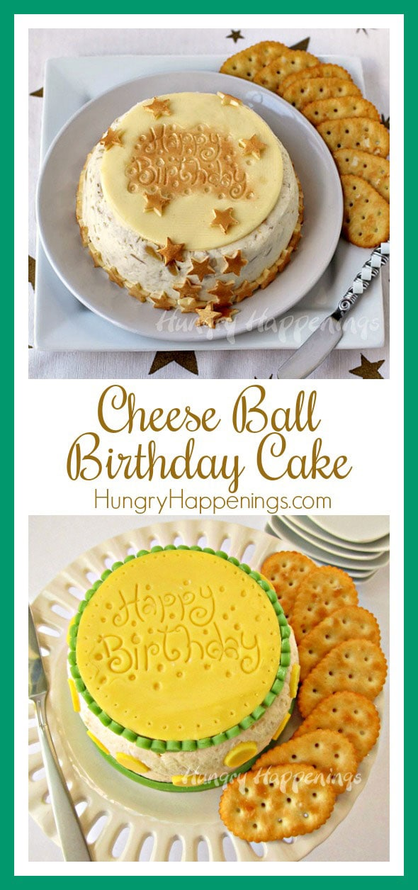 For those who prefer savory over sweet this Cheese Ball Birthday Cake appetizer recipe is a perfect recipe. You can personalize and decorate your birthday cake cheese ball to match your party theme.