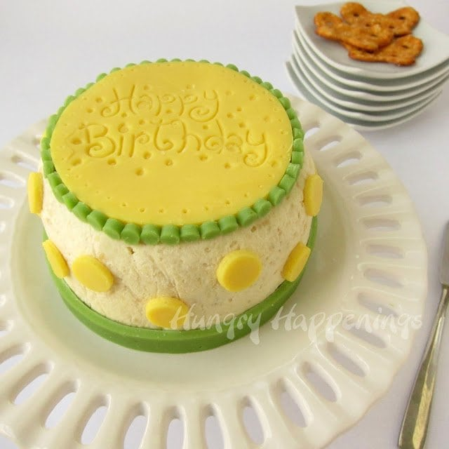 Savory Cheese Ball Birthday Cake