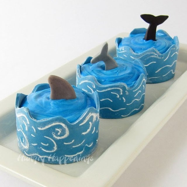 Ocean Cupcakes with Edible Cupcake Wrapper Waves