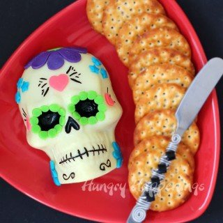 Day of the Dead Appetizer – Decorated Sugar Skull made out of Cheese
