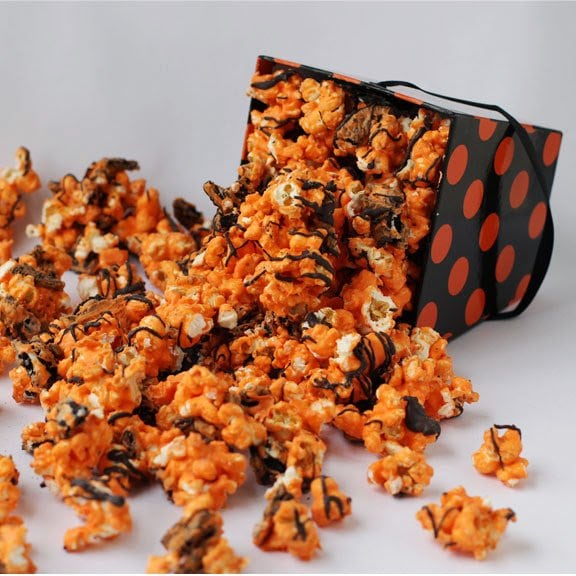 This simple Orange and Black Halloween Popcorn is the perfect treat to make if you're running out of time! It is so simple that you could make as many batches as you'd like, it's perfect for an easy party snack!