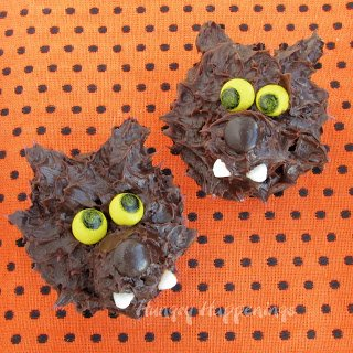 Werewolf Cupcakes with M&M eyes and nose
