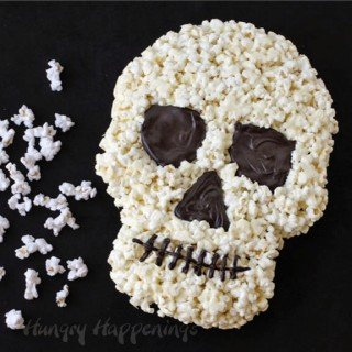 White Chocolate Popcorn Skull – Halloween Dessert
