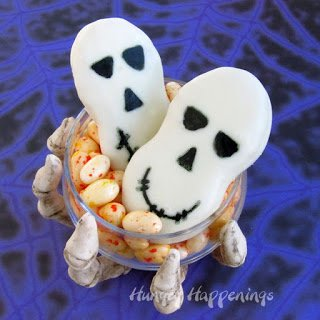 Nutter Butter Skulls in a Skeleton Bowl filled with Jelly Bellies