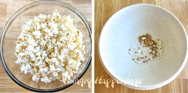 Remove any un-popped kernels from your popped popcorn.