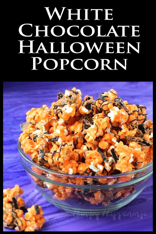Halloween orange and black popcorn filled with OREO Cookies