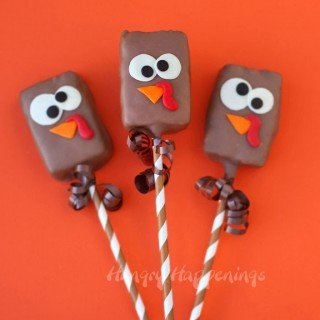 Chocolate Dipped Rice Krispie Treat Turkey Pops
