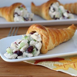 Crescent Roll Cornucopias filled with Cranberry Turkey Salad