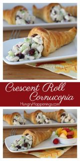 Instead of just having a Thanksgiving Cornucopia on display, create some Crescent Roll Cornucopias for your guests to munch on before dinner! They will be great for any fall get together and these cones are even better when they are filled with left over turkey!