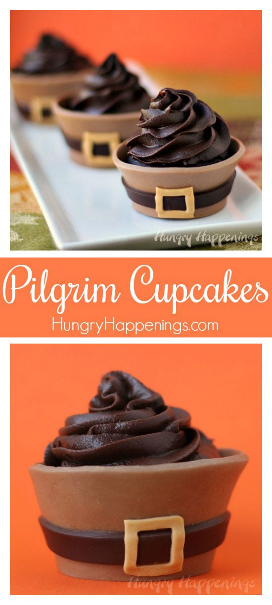 Your dinner guests will fall in love with these luscious chocolate Thanksgiving Cupcakes. Each chocolate cupcake is wrapped in a milk chocolate pilgrim suit cupcake wrapper that looks like a pilgrim suit. They are the perfect ending to your Thanksgiving dinner.
