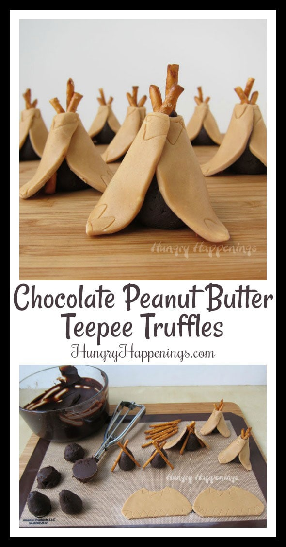 These tiny candy Teepee Truffles made out of peanut butter modeling chocolate couldn't be cuter and they taste amazing too. These fun Thanksgiving Desserts even have a chocolate truffle hiding inside.
