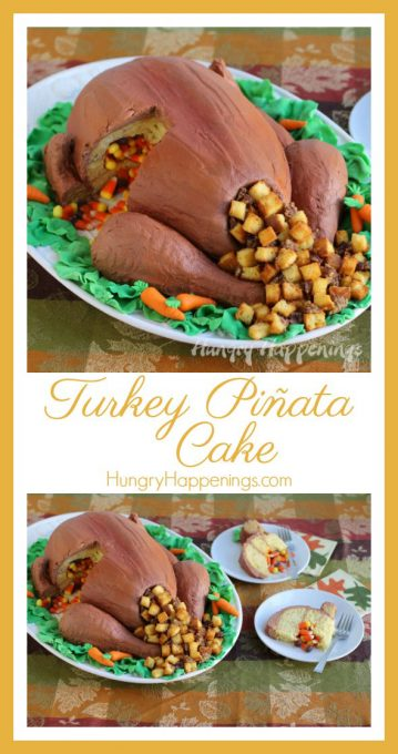 Shock the world this Thanksgiving and make this realistic candy filled Turkey Cake. This 3D cake looks like the real deal and your guests will cry and applaud and scream encore when they cut into it and realize there's candy corn inside!