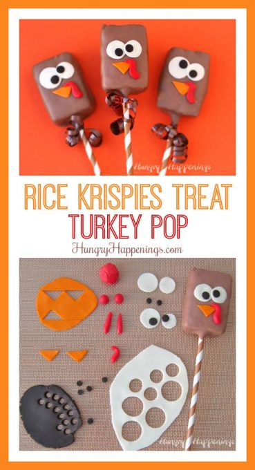 Want to serve the cutest Thanksgiving dessert ever? Make Chocolate Dipped Rice Krispie Treat Turkeys using store bought cereal treats, milk chocolate, and modeling chocolate.