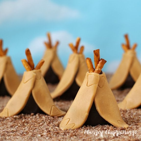 Chocolate Peanut Butter Teepee Truffles | HungryHappenings.com