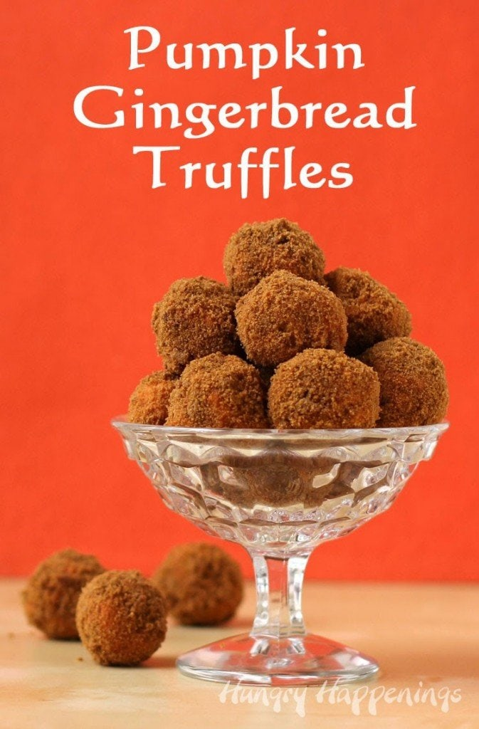 Pumpkin Gingerbread Truffles | HungryHappenings.com