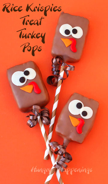 Chocolate Rice Krispie Treat Turkey Pops make festive treats for Thanksgiving.