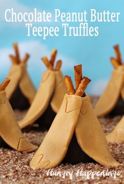 Tiny candy teepees made out of peanut butter modeling chocolate couldn't be cuter and they taste amazing too. These fun Thanksgiving Desserts even have a chocolate truffle hiding inside.