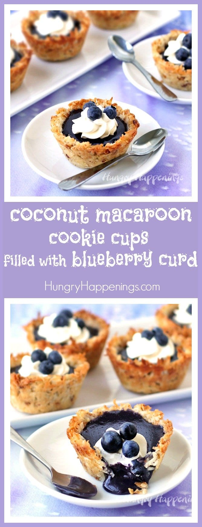 Make homemade coconut macaroon cups then fill them with freshly made blueberry curd for a lovely summer dessert.
