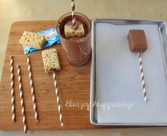 How to make chocolate dipped rice krispie treats.