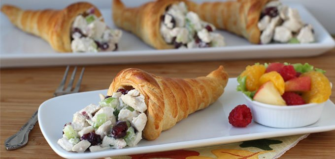 Use up leftover turkey to create Cranberry Turkey Salad Stuffed Crescent Roll Cornucopia after Thanksgiving.