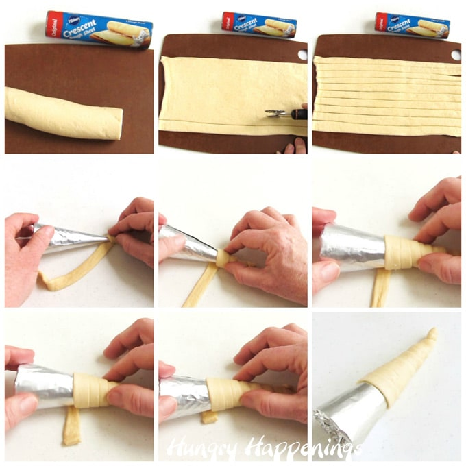 collage of images showing how to cut crescent roll dough sheets into 8 strips then wrap 6 of those strips around a tin foil wrapped sugar cone to form a cornucopia