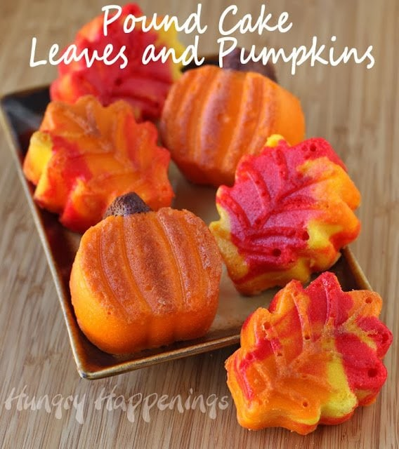 Pretty Pound Cake Leaves and Pumpkins   Hungryhappenings.com