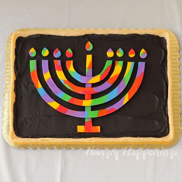Rainbow Menorah Cookie