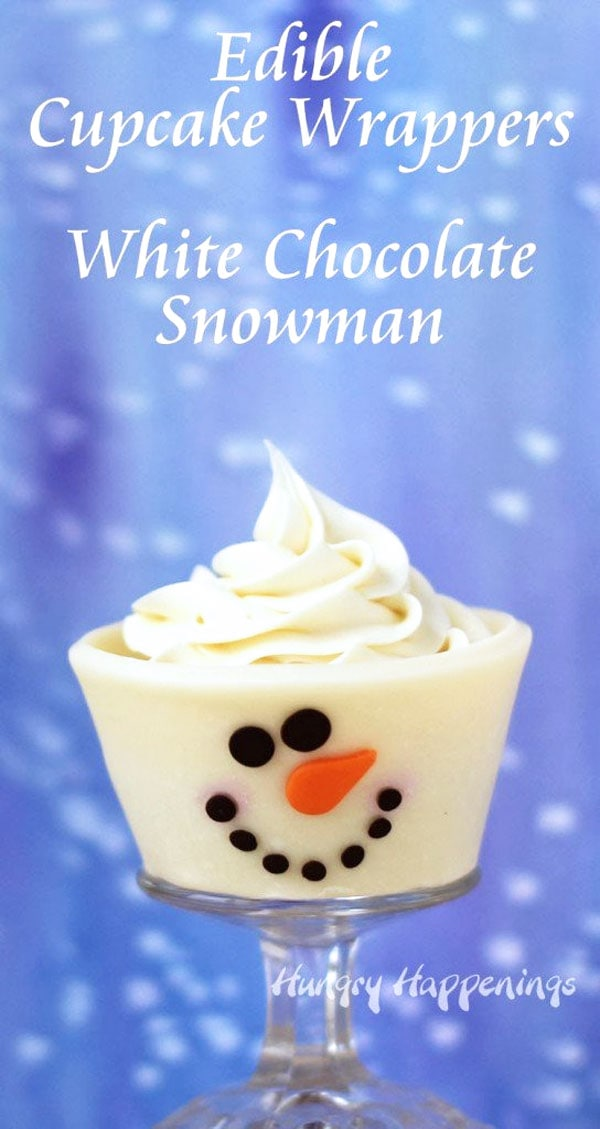 Snowman cupcakes topped with a big swirl of white frosting.