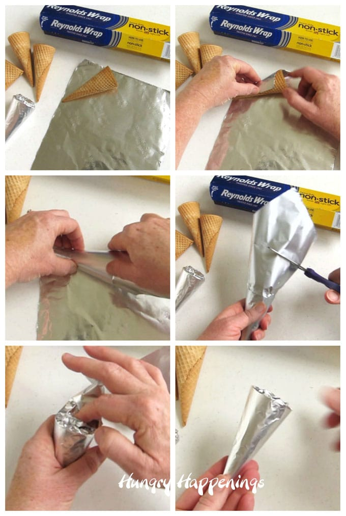 collage of images showing how to wrap sugar cones in non-stick tin foil to make mock cream horn forms