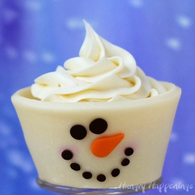 100% Edible Snowmen Cupcakes