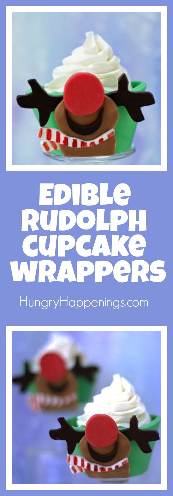 I'm always looking for cool ways to make cupcakes even more appealing than they already are. An Edible Rudolph Cupcake Wrappers will make your treat better looking and tasting.