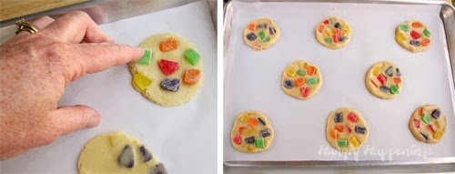 Add colorful gumdrops to sugar cookies.