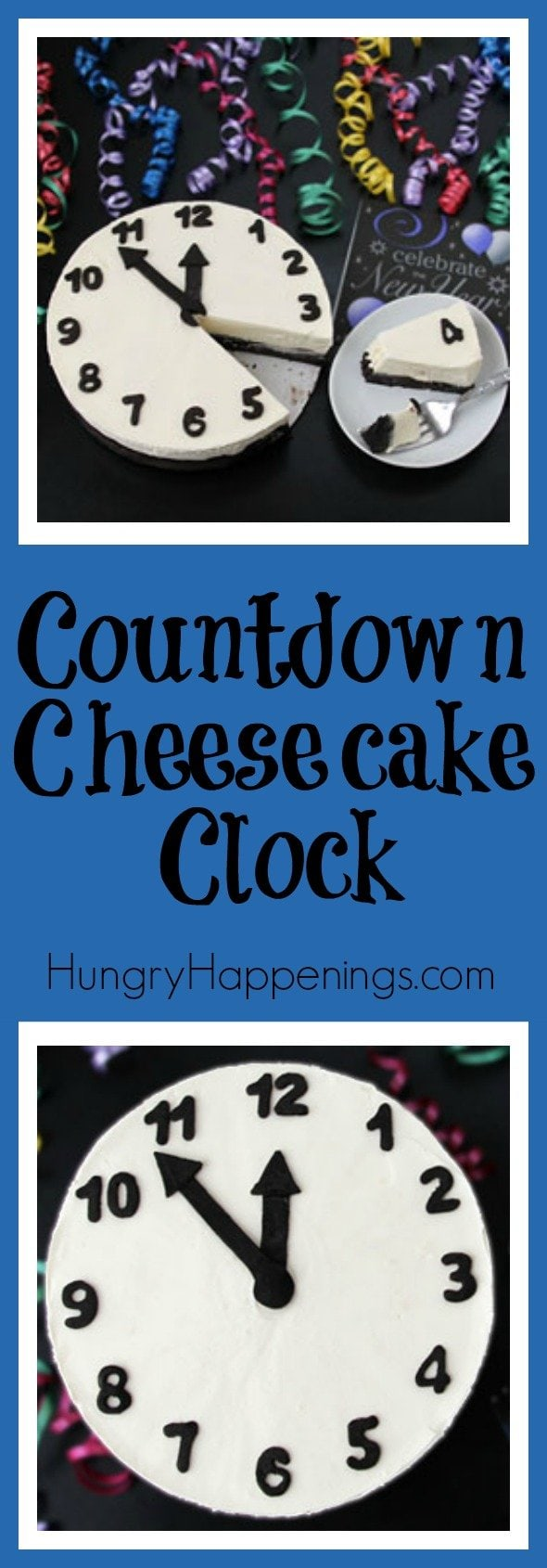 Christmas is over and I'm sure you all are looking for some more ideas for New Year's food! While the clock is winding down, cut into this delicious Black and White Cheesecake Clock.