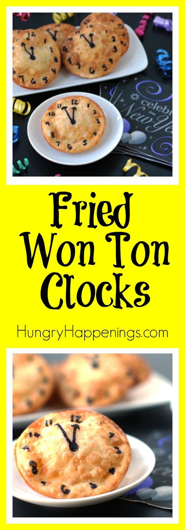 I've been staying on the clock themed food train since its New Year's Eve and these Cheese Filled Fried Won Ton Clocks will make you well known as the app master at any party!