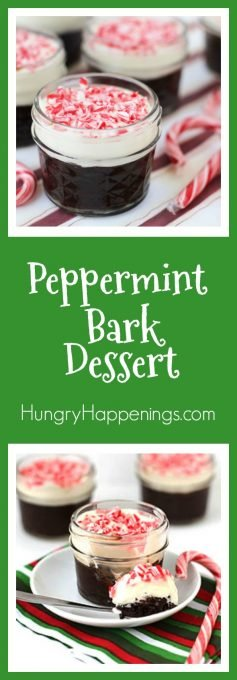 This Christmas, serve your guests a treat they will remember. This decadent Peppermint Bark Layered Dessert is served in adorable Mini Mason Jars filled with White Chocolate Mousse and Flourless Chocolate Cake and is topped with Peppermint Bark Chips.