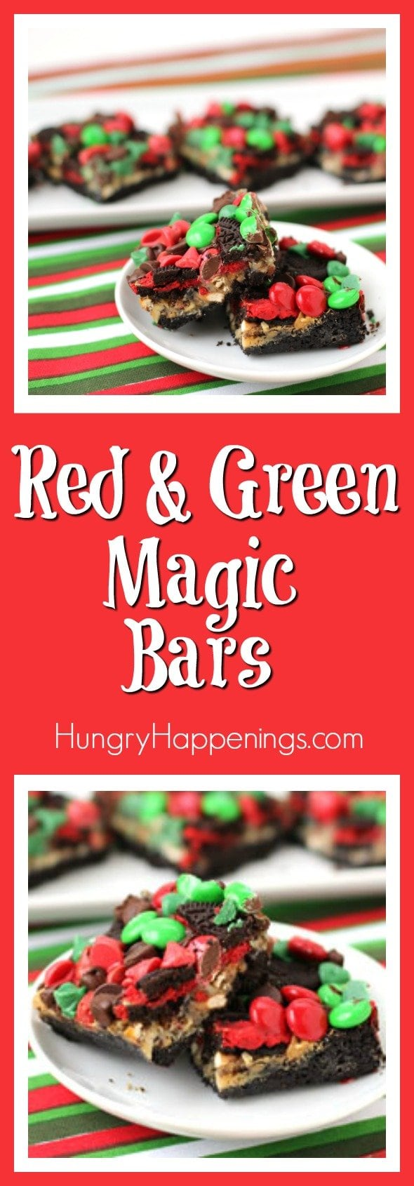 This December, turn your favorite candy and cookies into these fun, colorful Red and Green Christmas Magic Bars. It's a last minute dessert recipe you can make on short notice, but it's a hit all through the Holiday Season.