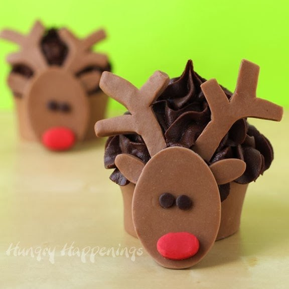 Milk Chocolate Rudolph Edible Cupcake Wrappers | HungryHappenings.com